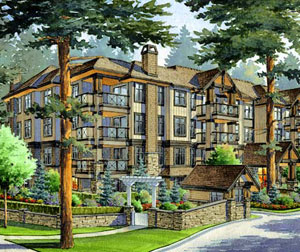 The beautiful West Coast craftsman architecture of the pre-construction Abbotsford condo apartments at Nature's Gate