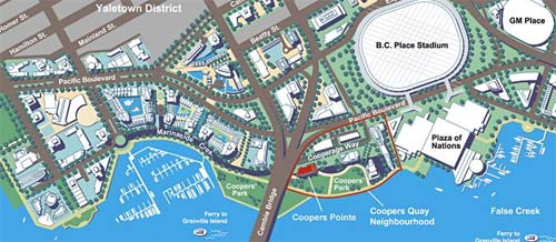 Map of the False Creek Coopers Pointe Vancouver condominium development neighbourohod along the waterfront