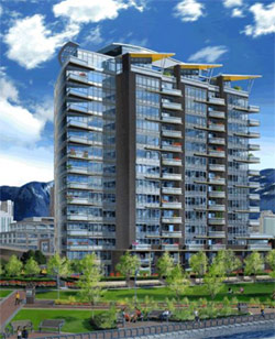 Vancouver waterfront living at the Concord Pacific Coopers Pointe Luxury Condo high-rise tower in False Creek waterfront real estate