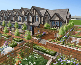 Site plan for the masterplanned community of townhomes in central Vancouver Grand Oak Street