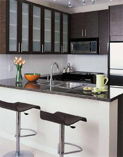 The chef inspired kitchens at OMA 2 Condominiums in Brentwood Burnaby property market are clean and sophisticated