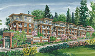 A rendering of the West Coast craftsman architecutre at Touchstone North Vancouver apartment condos for re-sale